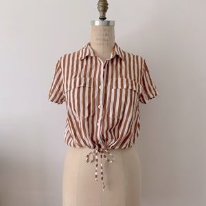 Crop stripped blouse with bottom drawstring